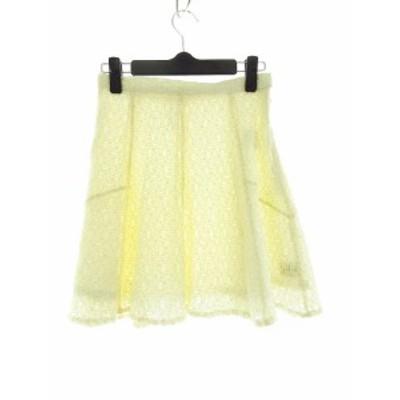 【中古】未使用品 カイン KAIN スカート フレア ミニ 総柄 P 白 ホワイト /M2 レディース