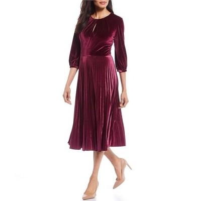 マギーロンドン レディース ワンピース トップス Petite Size Velvet 3/4 Sleeve Pleated Midi Dress