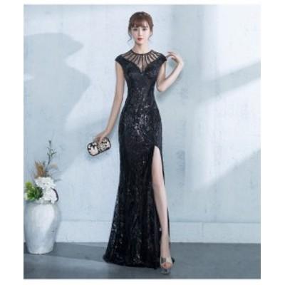 高品質 マーメイドライン ロングドレス パーティドレス  ワンピース ナイトドレス 黒 スリット   二次会 発表会 演奏会  D004