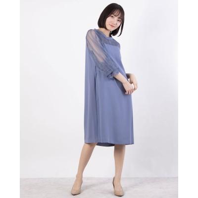 ルゥデ Rewde ハイネックレース切替ドレス(0R04-A2150) (ダークブルー)