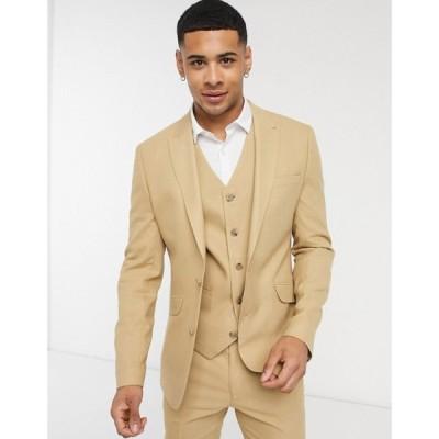 エイソス ASOS DESIGN メンズ スーツ・ジャケット アウター Wedding Super Skinny Suit Jacket In Camel Micro Texture キャメル