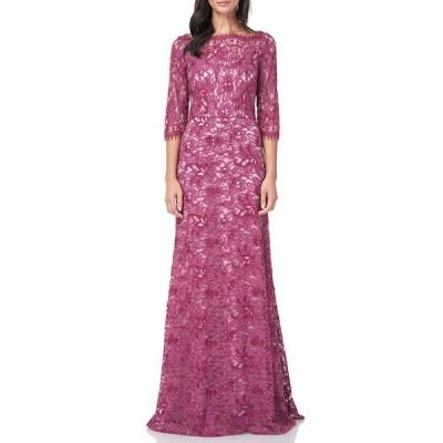 ジェイエスコレクションズ ワンピース トップス レディース Lace Column Gown Mauve