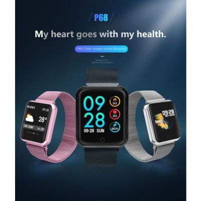 スマートウォッチ 運動腕時計 スマートブレスレット 万歩計 防水腕時計 多機能 健康管理 非医療品P68