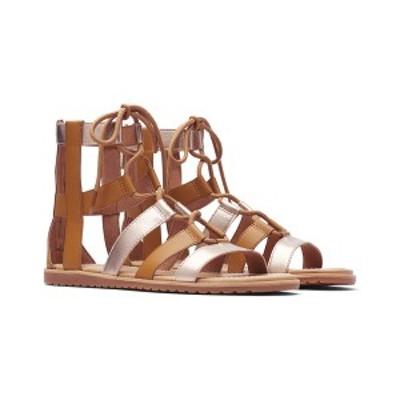 ソレル レディース サンダル シューズ SOREL Bailee Lace-Up Leather Sandal metallic camel brown/sea salt leather