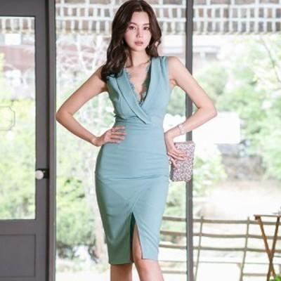 キャバ ドレス キャバドレス ワンピース ミディアムドレス カシュクール クール タイト 胸元 透け感 レース アイラッシュレース バックス