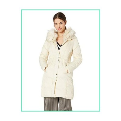 VIA SPIGA Women's Faux Fur Trimmed Exaggerated Hood Cinched Waist Puffer Coat, Whipped Cream, Large並行輸入品