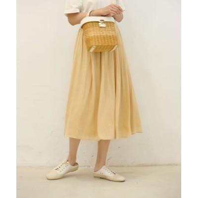 【セゾン ド パピヨン】 ウエストメローギャザースカート レディース ベージュ Lサイズ SAISON DE PAPILLON