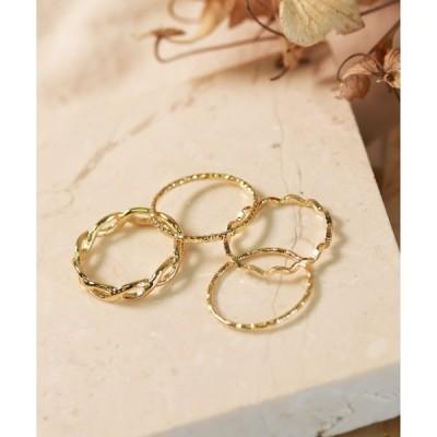 指輪 ゴールド シルバー 4個セットリング