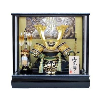 10号赤中鍬角兜ケース飾りYN51621GKC-五月人形ケース(木製弓太刀付)-五月人形-兜飾り-鎧飾り-ケース入り