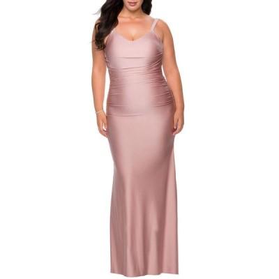 ラフェム レディース ワンピース トップス Plus Size V-Neck Sleeveless Ruched Jersey Gown