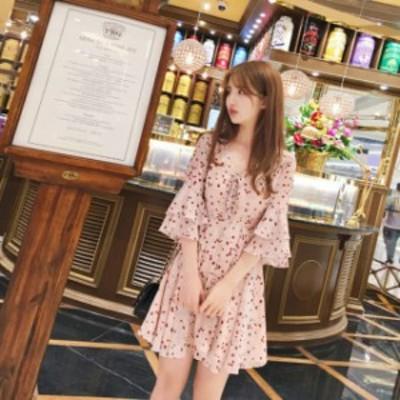 花柄フリルミニワンピース(ピンク)春夏 通学 ビーチ 海 プール 女子会 ランチ