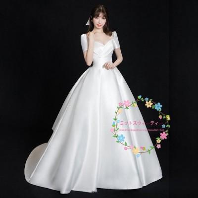 ウェディングドレス プリンセスラインドレス ピアノ発表会 大人 袖あり パーティードレス 演奏会 イブニングドレス ウエディングドレス 結婚式 花嫁 二次会