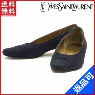 イヴ・サンローラン 靴 YVES SAINT LAURENT パンプス ゴールド金具 ネイビー 激安 即納 【中古】 X9681