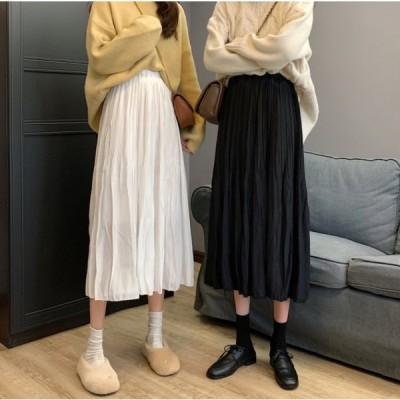 スカート ボトムス ひざ下 Aライン モノトーン 韓国ファッション 大人可愛い きれいめ カジュアル