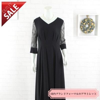 54%OFF 大きいサイズ ドレス セール 結婚式ドレス 二次会 ロング|レース袖ロングドレスLLサイズ(ブラック)