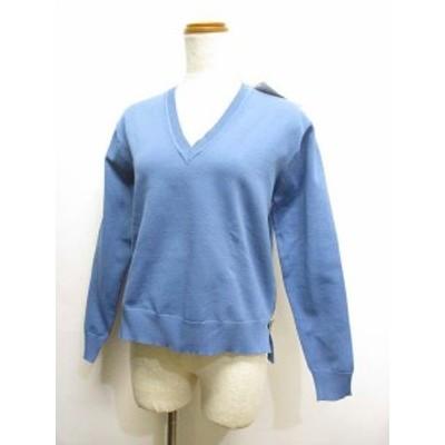 【中古】未使用 アダムエロペAdam et Rope' 長袖 Vネック ニット セーター プルオーバー 薄手 38 ブルー サイドジップ