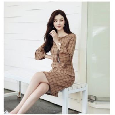 フレアスリーブ ワンピース ドレス ギンガムチェック お呼ばれドレス 二次会 韓国 20代 30代 40代 大きいサイズ セットアップ