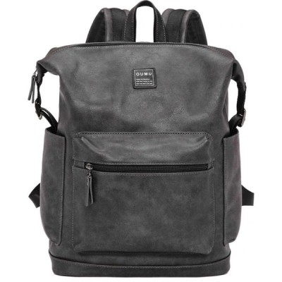 ララ Lara メンズ バックパック・リュック バッグ Plain Front Zipper Pocket Backpack - Grey