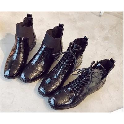 新しい/正方形の頭/厚いかかと/パテントレザー/ブーティー/ショートチューブ/ブリティッシュ風/ファッション/女性の靴/マーティンブーツ