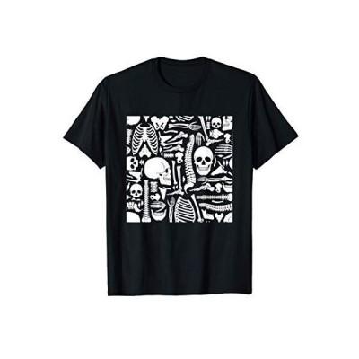 骨格 パターン ハロウィン スカル ホラー トリックオアトリート プレゼント Tシャツ