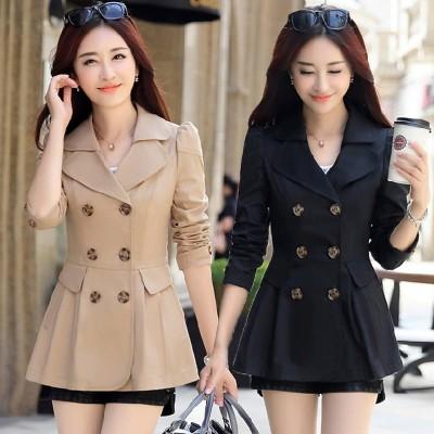 【春夏新作】コートジャケット ショートトレンチコート☆スタンダードに着たり、レディーに着たり、カジュアルに着こなしたりとコーディネート力無限大のアイテム。 春ファッション★韓国ファッション リ