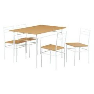 10%OFFクーポン対象商品 ダイニング5点セット スチールフレーム 木目調天板 幅120cm ナチュラル (  テーブル チェア ダイニングテーブル ダイニングチェア ダイニングセット セット 食卓 つくえ 机 デスク 椅子 いす イス ) クーポンコード:52RFBAW