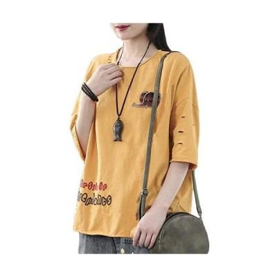 Semo1mus Tシャツ レディース トップス カットソー プリント 五分袖 半袖 カジュアル おおきいサイズ 丸ネック (イエロー L)