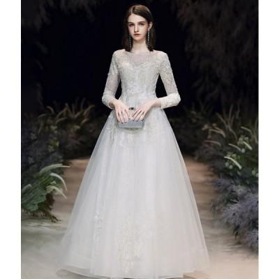 ウエディングドレス 長袖 Aライン ロングドレス 結婚式 花嫁 二次会 ドレス ウェディングドレス 袖あり 大きいサイズ 3L 小さいサイズ マキシ丈 刺繍