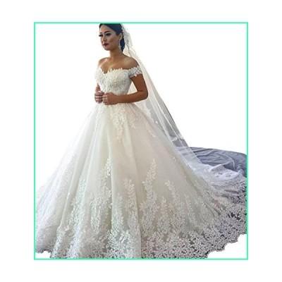 Changjie Women's Cap Sleeves A-line Wedding Dresses Lace Applique Bridal Gown White並行輸入品