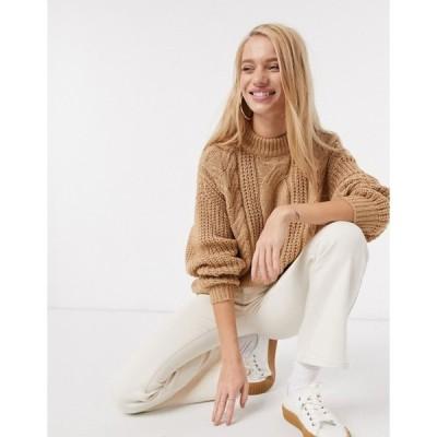 ヴェロモーダ レディース ニット・セーター アウター Vero Moda cable knit sweater in tan