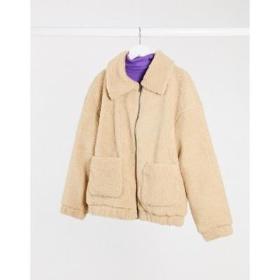 オンリー レディース ジャケット・ブルゾン アウター Only pocket detail teddy jacket in sand
