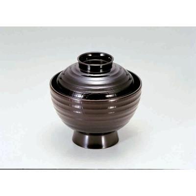 業務用漆器 3.5寸平筋吸椀 溜    10.5φ×10.2cm  210cc
