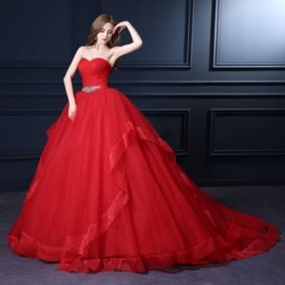 高品質  ウェディングドレス カラードレス  ビスチェ  トレーン 赤 結婚式 披露宴 パーティー 舞台  パニエ付 オーダーサイズ可 H077