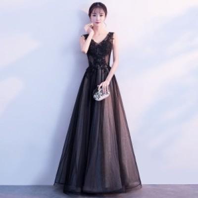 パーティードレス 結婚式 ウェディングドレス イブニングドレス ロングドレス カラードレス Aライン 二次会ドレス 大きいサイズ 演奏会