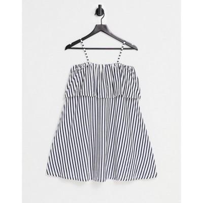 エイソス レディース ワンピース トップス ASOS DESIGN square neck sundress with overlayer frill in navy and white stripe