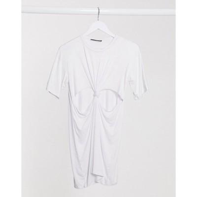 アナザーリーズン ミニドレス レディース Another Reason mini t-shirt dress with knot front エイソス ASOS ホワイト 白