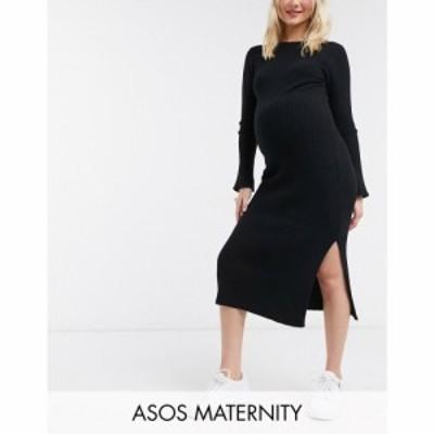 エイソス ASOS Maternity レディース ワンピース マタニティウェア ワンピース・ドレス ASOS DESIGN Maternity crew neck ribbed midi dr