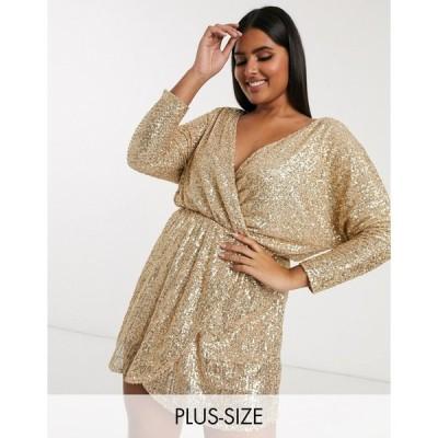 クラブエル ドレス 大きいサイズ レディース Club L London Plus sequin plunge neck long sleeve mini dress in gold エイソス ASOS ゴールド 金