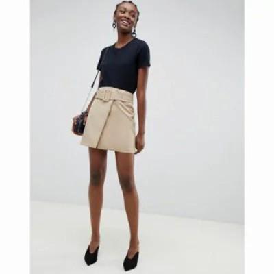 エイソス ミニスカート mini skirt with self belt in camel Camel