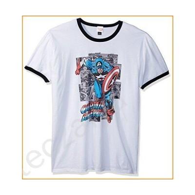 Marvel Official Comic Cap Men's Fashion Ringer, White/Black, Small並行輸入品