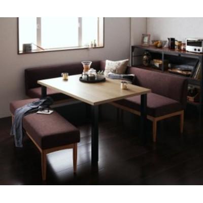 リビングダイニング 〔BARIST〕 4点ベンチセット(テーブルW120+バックレストソファ+左アームソファ+ベンチ) サンドベージュ