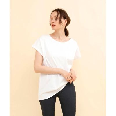 (aimoha/アイモハ)フレンチスリーブコットンTシャツ/レディース ホワイト