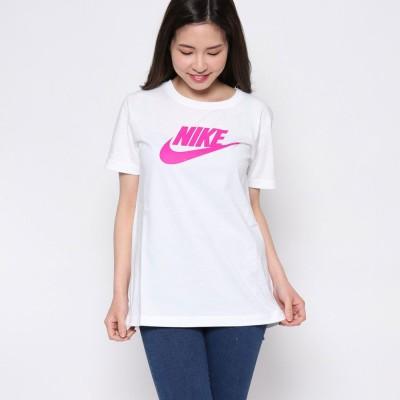 【ピーシーティーP・C・T】ナイキ NIKE コットン100% 鮮やか4カラー♪スウォッシュロゴジャスト丈Tシャツ/ ウィメンズ ロゴ Tシャツ (WHITE)