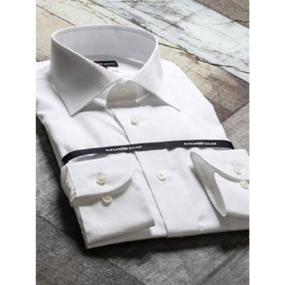 綿100%100双 形態安定レギュラーフィットワイドカラー長袖ビジネスドレスシャツ