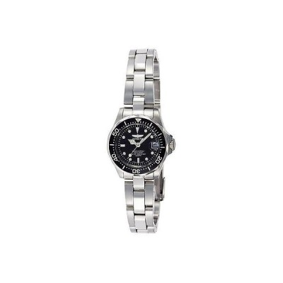 インヴィクタ 8939 シルバー-トーン プロ ダイバー ミニ ブラック Sunray ダイヤル ブレスレット レディース 腕時計