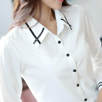 スーツシャツ レディース通勤ビジネスオフィス細身フォーマル長袖ワイシャツ開襟シャツ シフォンシャツ就活 ブラウス OL カジュアルシャツ仕事着ゆったり3色