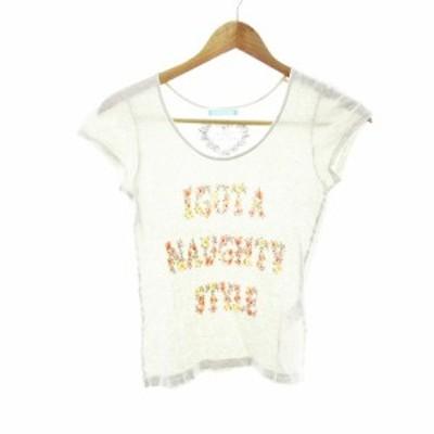【中古】ダズリン dazzlin Tシャツ カットソー 半袖 プリント ベージュ /MO レディース