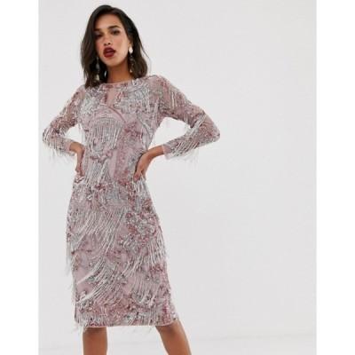 エイソス レディース ワンピース トップス ASOS EDITION floral midi fringe dress