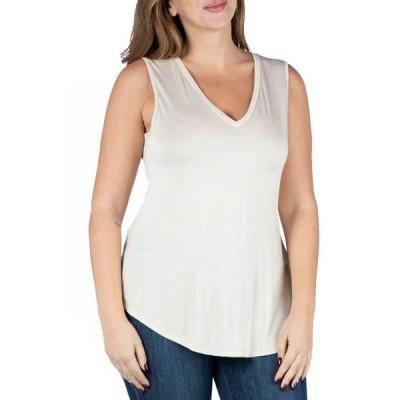 24セブンコンフォート レディース シャツ トップス Women's Plus Size V-neck Sleeveless Rounded Hemline Top