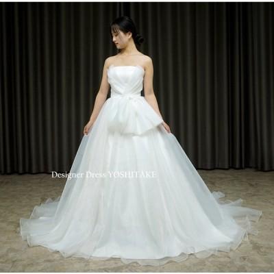 シンプルだけどよく考えられた白挙式用ウエディングドレス(パニエ付)結婚式/挙式